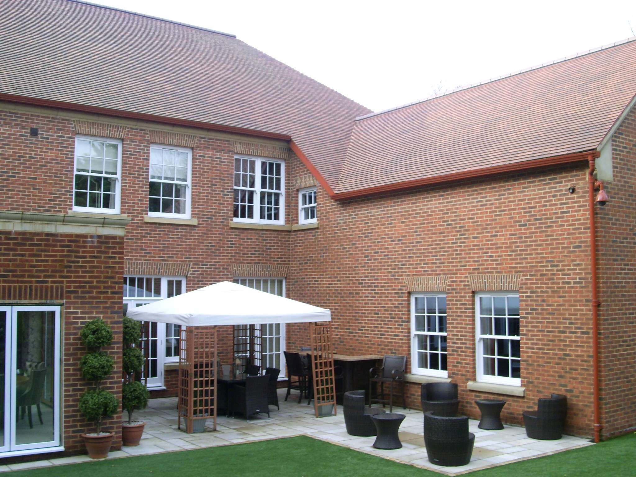 A Large 3 story new build house with garden furniture